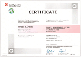 Certificate of effective quality management system ISO/TS 16949:2009