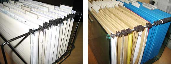 Metal rods for hanging files